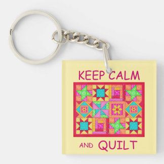 Keep Calm and Quilt Multi Block Patchwork Quilt Keychain