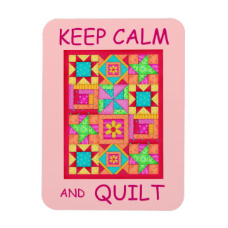 Keep Calm and Quilt Multi Block Patchwork Quilt Magnet