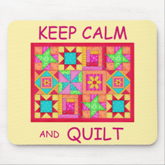 Keep Calm and Quilt Multi Block Patchwork Quilt Mouse Pad