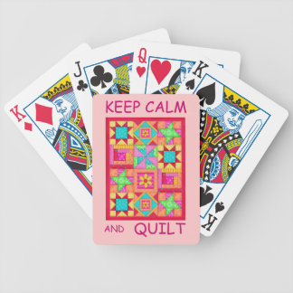 Keep Calm and Quilt Multi Block Patchwork Quilt Bicycle Poker Cards
