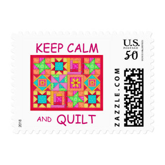 Keep Calm and Quilt Multi Block Patchwork Quilt Postage