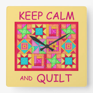 Keep Calm and Quilt Multi Block Patchwork Quilt Square Wall Clock