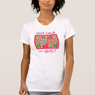 Keep Calm and Quilt Multi Block Patchwork Quilt T-Shirt