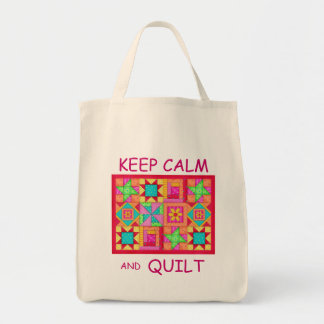 Keep Calm and Quilt Multi Block Patchwork Quilt Tote Bag