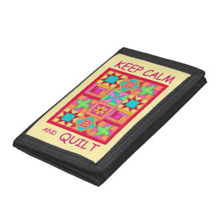 Keep Calm and Quilt Multi Block Patchwork Quilt Tri-fold Wallet