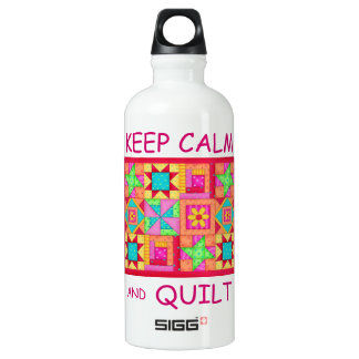 Keep Calm and Quilt Multi Block Patchwork Quilt Water Bottle