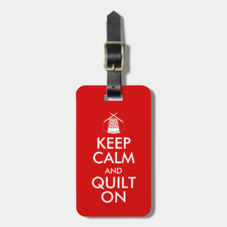 Keep Calm and Quilt On Sewing Thimble Needles Bag Tag