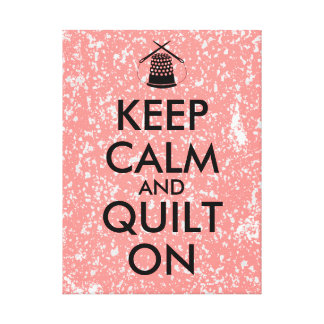 Keep Calm and Quilt On Sewing Thimble Needles Canvas Print