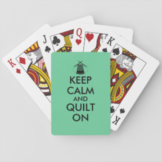 Keep Calm and Quilt On Sewing Thimble Needles Playing Cards