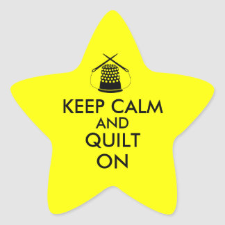 Keep Calm and Quilt On Sewing Thimble Needles Star Sticker