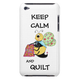 Keep Calm and Quilt Whimsy Honey Bee Art iPod Case-Mate Case