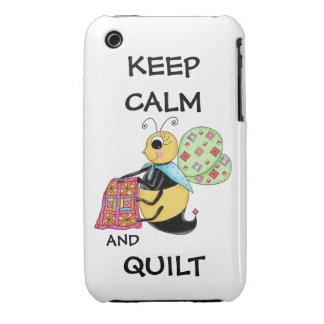 Keep Calm and Quilt Whimsy Honey Bee Art Case-Mate iPhone 3 Case