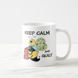 Keep Calm and Quilt Whimsy Honey Bee Art Coffee Mug
