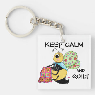 Keep Calm and Quilt Whimsy Honey Bee Art Keychain