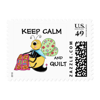 Keep Calm and Quilt Whimsy Honey Bee Art Postage