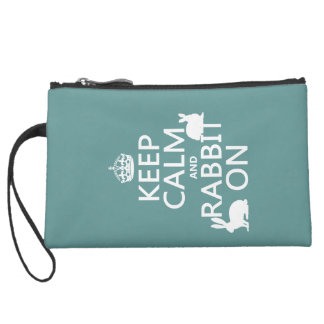 Keep Calm and Rabbit On - all colors Suede Wristlet Wallet