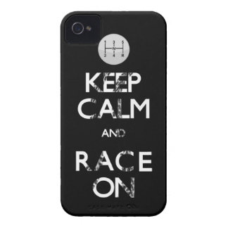 keep calm and race on iPhone 4 Case-Mate case