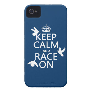 Keep Calm and Race On (Pigeons) (all colors) iPhone 4 Cover