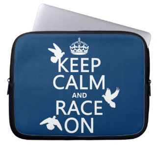 Keep Calm and Race On (Pigeons) (all colors) Laptop Computer Sleeve