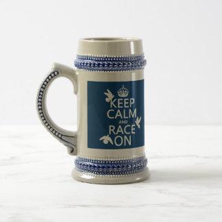 Keep Calm and Race On Pigeons all colors Coffee Mug