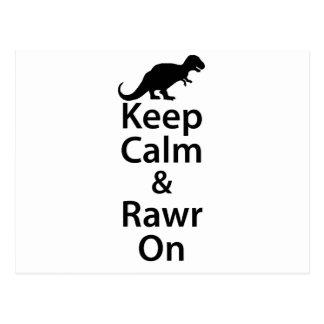 Keep Calm And Rawr On Postcard