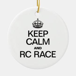 KEEP CALM AND RC RACE CERAMIC ORNAMENT