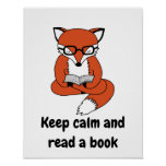 Keep calm and read book quote fox poster art print