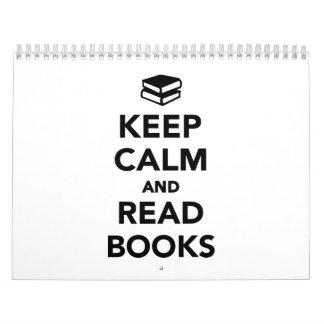 Keep calm and read books calendar