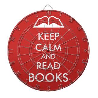 Keep calm and read books dartboard