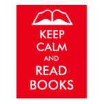 Keep calm and read books postcard