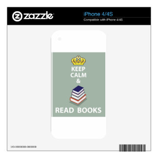 Keep Calm and Read Books vector iPhone 4 Decal