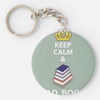 Keep Calm and Read Books vector Keychain