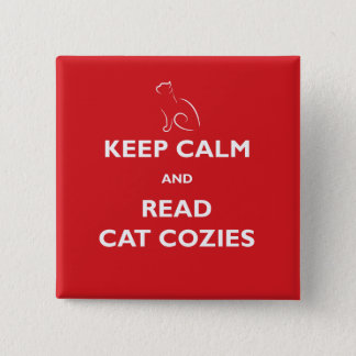 Keep Calm and Read Cat Cozies Square Button