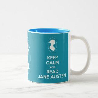 Keep Calm and Read Jane Austen Cameo Portrait mug
