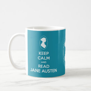 Keep Calm and Read Jane Austen Cameo Portrait Tea Mugs