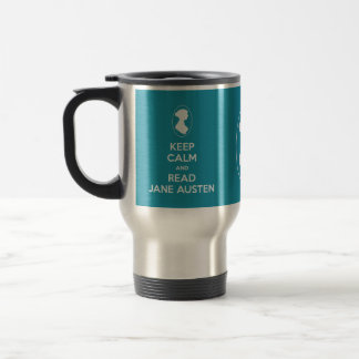 Keep Calm and Read Jane Austen Cameo Portrait Travel Mug