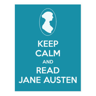 Keep Calm and Read Jane Austen Cameo Teal Postcard