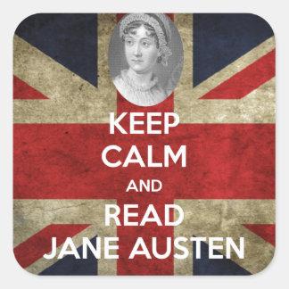 Keep Calm and Read Jane Austen Square Sticker