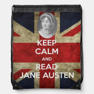 Keep Calm and Read Jane Austen Union Jack Drawstring Bag