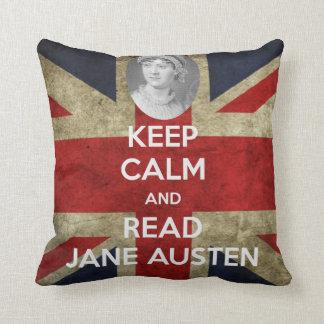 Keep Calm and Read Jane Austen Union Jack Throw Pillow