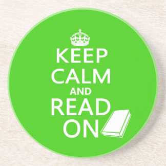 Keep Calm and Read On Beverage Coaster