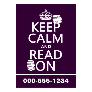 Keep Calm and Read On (in any color) Large Business Cards (Pack Of 100)
