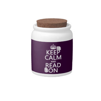 Keep Calm and Read On (in any color) Candy Jar