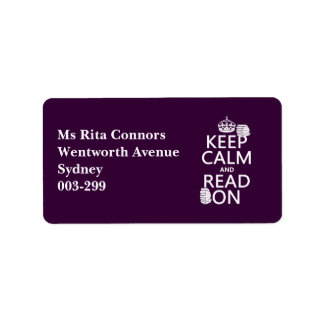 Keep Calm and Read On in any color Personalized Address Labels