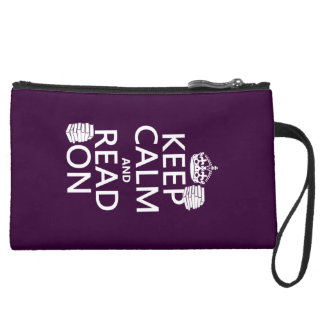 Keep Calm and Read On (in any color) Suede Wristlet Wallet