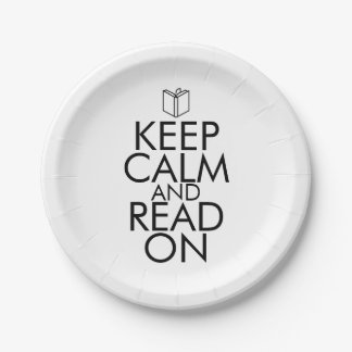 KEEP CALM AND READ ON PAPER PLATE
