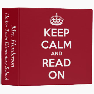 Keep Calm and Read On Red Personalized Binder