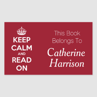 Keep Calm and Read On Red Personalized Book Plate Rectangular Sticker