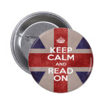 Keep Calm and Read On Union Jack Button