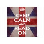 Keep Calm and Read On Union Jack Postcard